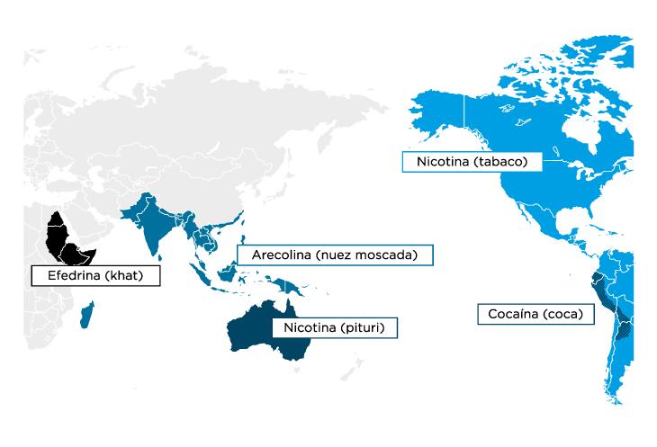 Ejemplos de localización de uso de algunas sustancias psicoactivas en el mundo pre-colonial.