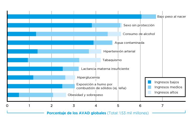 En el gráfico se representa la participación de diez factores de riesgo en un indicador de Salud Pública llamado Años de Vida Ajustados por Discapacidad