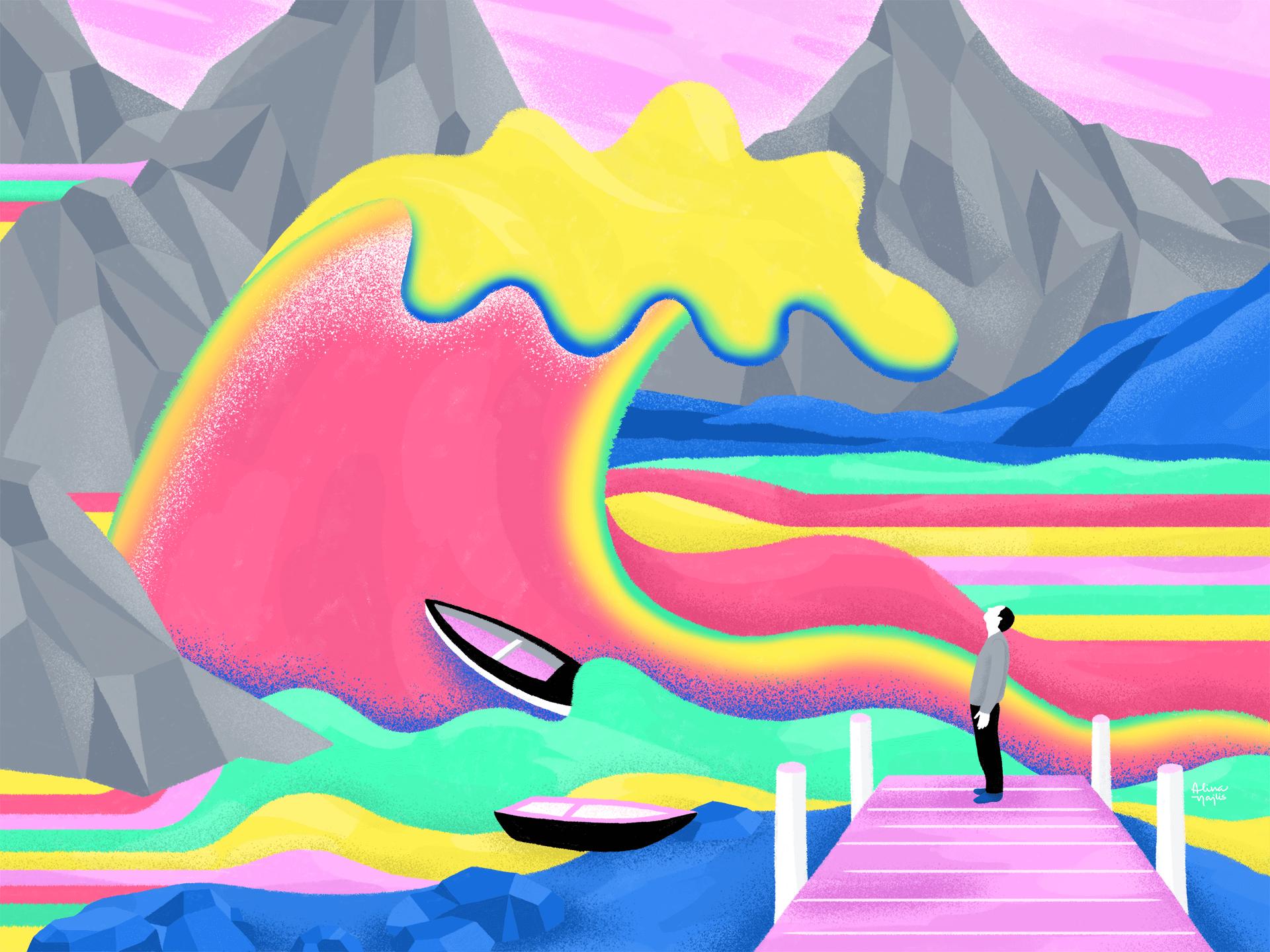La ola en el puerto